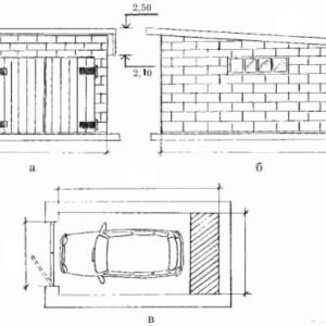 чертеж кирпичного гаража
