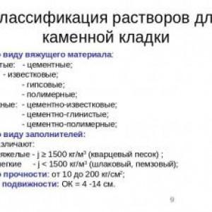 классификация кладочный растворов
