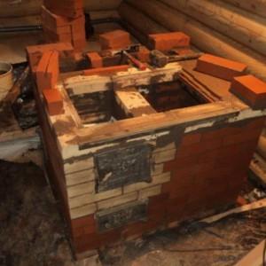 начало строительства банной печи