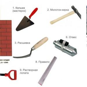 Инструменты для кладки столбов из кирпича