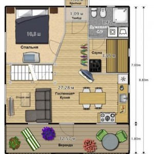 план дома с баней