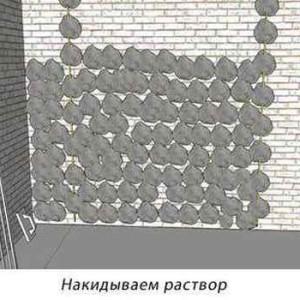 при обнаружении трещин - накидываем раствор на стену