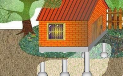 кирпичный дом на свайном фундаменте