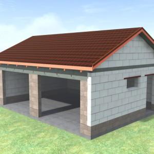 Стандартный гараж из пеноблоков