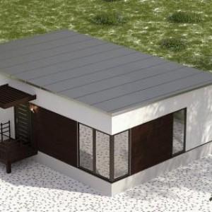 общий вид каркасного дома с плоской крышей